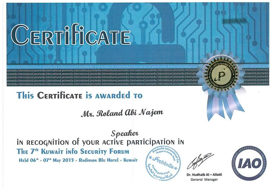 roland-abi-najem-certificate-7th-kuwait-info-security-forum