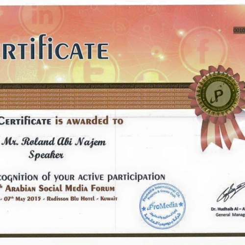 roland-abi-najem-certificate-4th-arabian-social-media-forum-kuwait