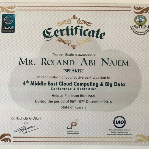 roland-abi-najem-certificate-speech-in-the-4th-middle-east-cloud-computing-big-data-conference-exhibition-06-07-december-radisson-blu-hotel-kuwait