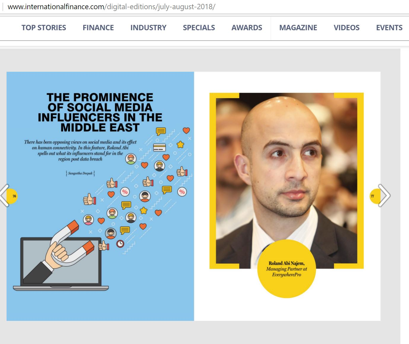 Roland Abi Najem interview in International Finance Magazine