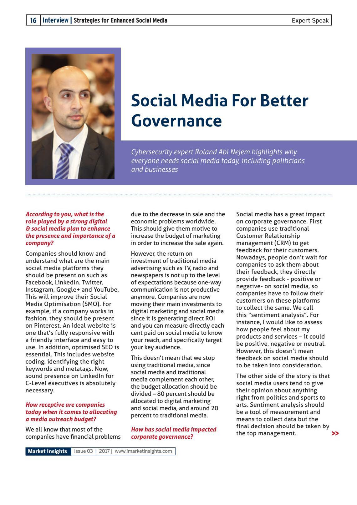 Roland Abi Najem Interview with International Magazine iMarket Insight talking about Social Media